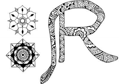 Quadro lettera R decorato nello stile di mehndi