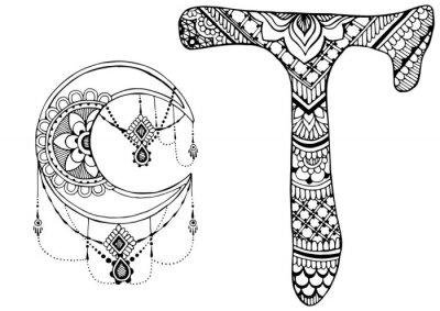 Quadro lettera T decorato nello stile di mehndi