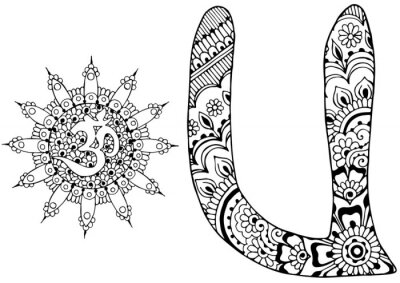Quadro lettera U decorato nello stile di mehndi