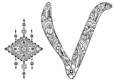 Quadro lettera V decorato nello stile di mehndi