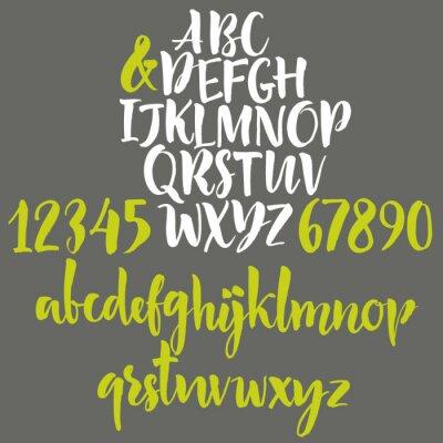 Quadro Lettere di alfabeto: minuscole, maiuscole e numeri.