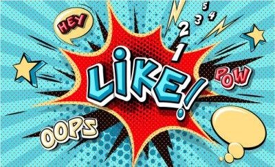Quadro Like. Pop art cloud bubble. Funny speech bubble. Trendy Colorful retro vintage background in popart retro comic style. Illustration easy editable for Your design. Explosion comic cartoon effect.
