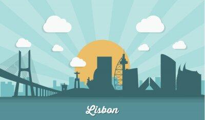 Quadro Lisbon skyline - design piatto