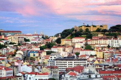Quadro Lisbona, Portogallo, vista al quartiere Alfama e San Jorge Castl