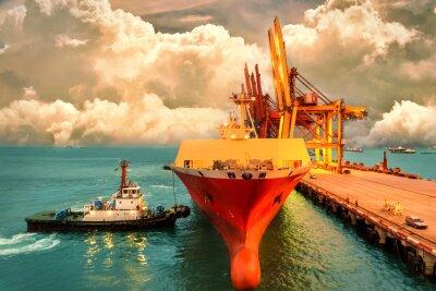 Quadro Logistica e trasporto di container internazionale Nave cargo con ponte di gru portuali in porto e cielo serale per l'industria logistica dei trasporti e delle esportazioni di sfondo.