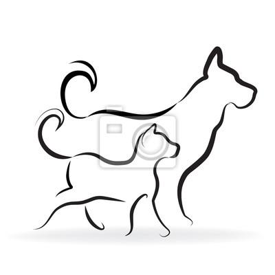Logo Di Sagoma Di Cane E Gatto Dipinti Da Parete Quadri Allevati