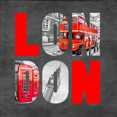 Quadro London letters with images on  black background