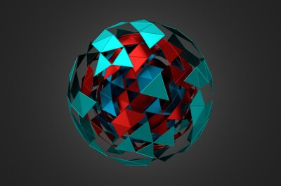 Quadro Low Poly Metal Sphere with Chaotic Structure.