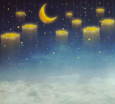 Quadro Luna e le stelle sulla corda in cielo notturno