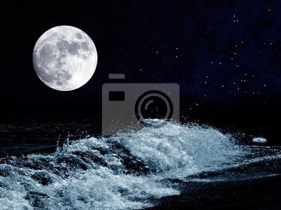 Luna Piena Sul Mare Di Notte Dipinti Da Parete Quadri Intuizione