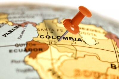 Quadro Luogo Colombia. Rosso pin sulla mappa.