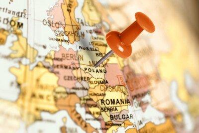 Quadro Luogo Polonia. Rosso pin sulla mappa.
