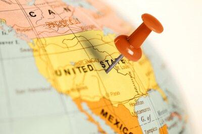 Quadro Luogo Stati Uniti. Rosso pin sulla mappa.