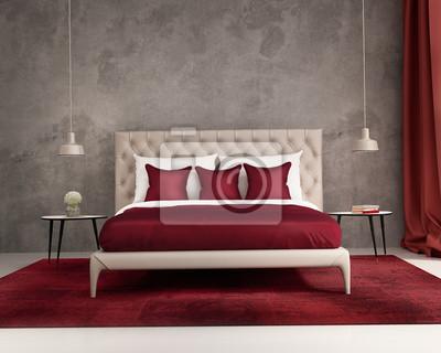 Quadro: Lusso elegante moderno intenso camera da letto rosso e grigio