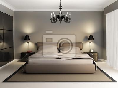 Lusso moderno interior elegante camera da letto, lampadario ...