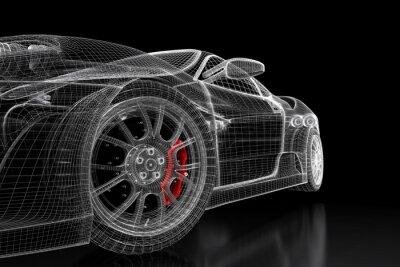 Quadro maglia di auto 3D su un nero