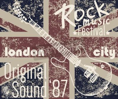 Quadro Maglietta Design di stampa, grafica tipografica, illustrazione vettoriale festa di Londra Rock con bandiera grunge e chitarra schizzo disegnata a mano Badge Applique Label.
