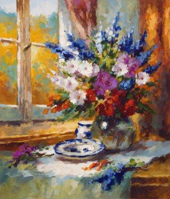 Quadro Malerei Blumen bunt motiv