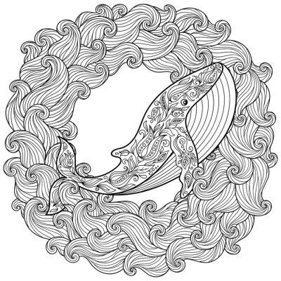 Quadro Mano balena disegnato tra le onde per antistress colorare