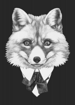 Quadro Mano Ritratto di Fox disegnato con gli occhiali. Vettore isolato elementi.