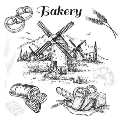 Quadro mano set panetteria disegnato