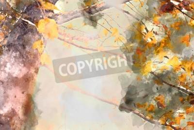 Quadro Maple tree in autumn season, watercolor background