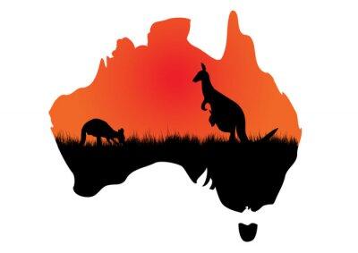 Quadro Mappa australiano con kangaaroo