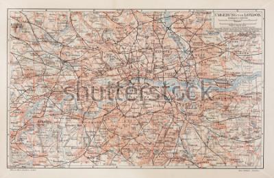 Quadro Mappa d'epoca di Londra e dintorni - Foto della collezione di libri Meyers Lexicon (scritto in lingua tedesca), pubblicato nel 1908.