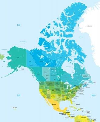 Quadro Mappa dei colori degli Stati Uniti e del Canada