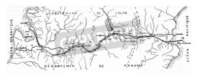 Quadro Mappa del Canale di Panama, illustrazione d'epoca inciso. E.-O. enciclopedia industriale Lami - 1875.