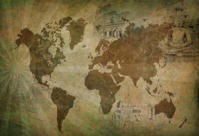 Quadro mappa del mondo antico