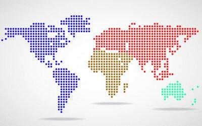 Quadro Mappa del mondo astratto di punti rotondi