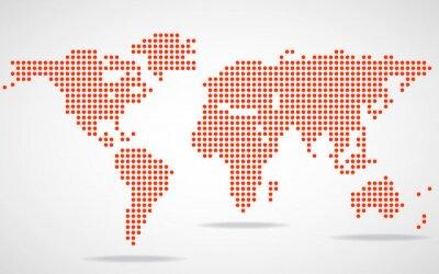 Quadro Mappa del mondo astratto di punti rotondi. Illustrazione vettoriale. eps 10