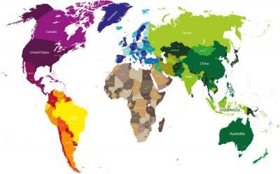 Quadro Mappa del mondo colorato da continenti