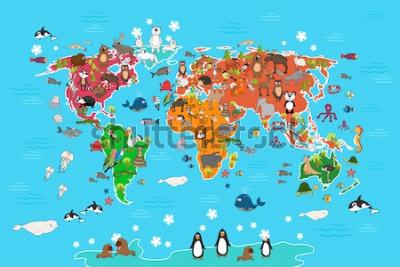 Quadro Mappa del mondo con animali. Scimmia e riccio, orso e canguro, lepre lupo panda e pinguino e pappagallo. Illustrazione di vettore della mappa di mondo degli animali nello stile del fumetto