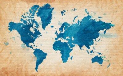 Quadro mappa del mondo con una trama di fondo e le macchie acquerello
