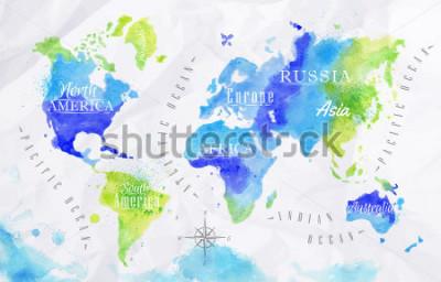Quadro Mappa del mondo dell'acquerello nei colori verdi e blu su uno sfondo di carta stropicciata