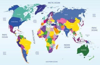 Quadro mappa del mondo geografico e politico