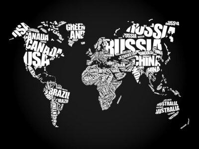 Quadro Mappa del mondo in nuvola concetto di parola Tipografia, nomi di paesi
