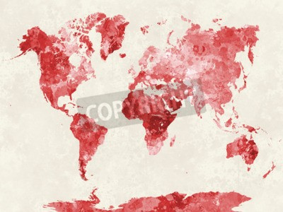 Quadro Mappa del mondo in pittura ad acquerello schizzi astratti