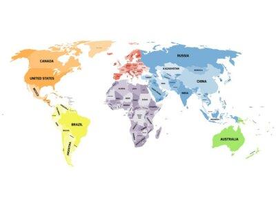 Quadro Mappa del mondo politico su sfondo bianco.