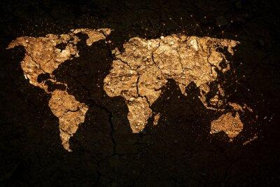 Quadro mappa del mondo su sfondo grunge
