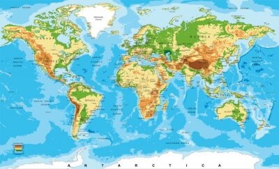 Cartina Asia Fisica.Mappa Fisica Del Mondo Dipinti Da Parete Quadri Confine Nazionale Asia Orientale Asia Sud Est Myloview It