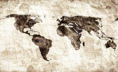 Quadro mappa grunge macchiato del mondo