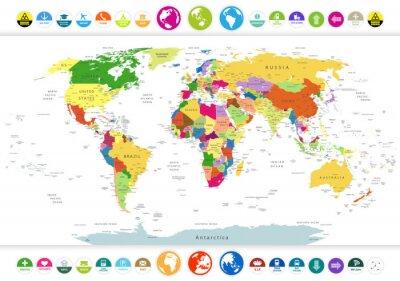 Quadro Mappa Politica del mondo con le icone piane ed i globi
