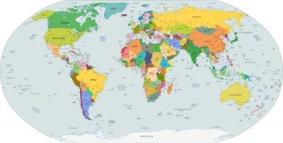 Quadro Mappa politica globale del mondo, vettore