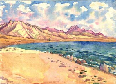 Quadro mare e montagna. Paesaggio. pittura ad acquerello