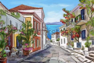 Quadro mare soleggiato in Grecia. mani dipinte.