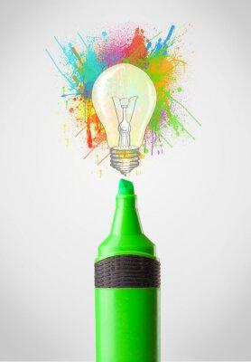 Quadro Marker close-up con spruzzi di vernice colorati e lampadina