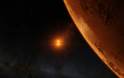 Quadro Mars illustrazione scientifica - paesaggio planetario